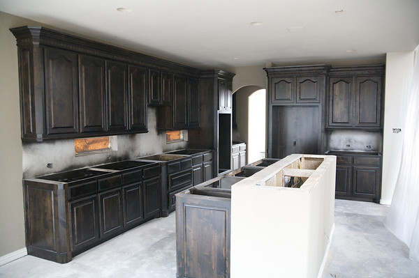 Honey oak cabinets stained with General Finishes Java Gel Stain ...